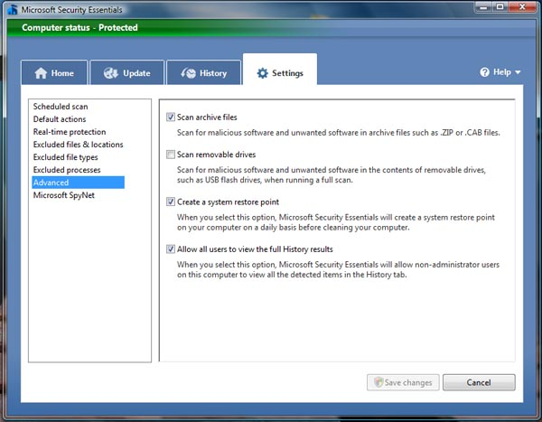 Security Essentials - ������� Settings