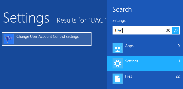 UAC's control and shutdown in Windows 8 OS