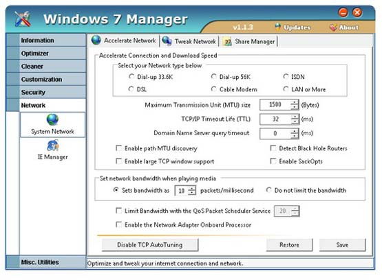 Интерфейс Windows 7 Manager
