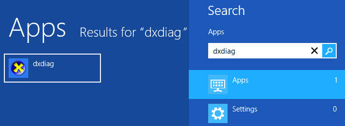 Запуск dxdiag в Windows 8