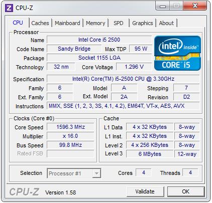 Характеристики Core i5 2500