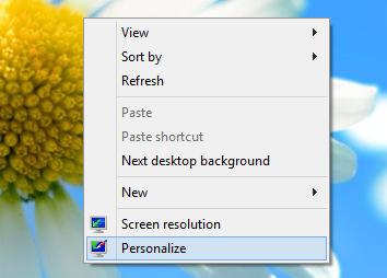 Контекстное меню рабочего стола Windows 8