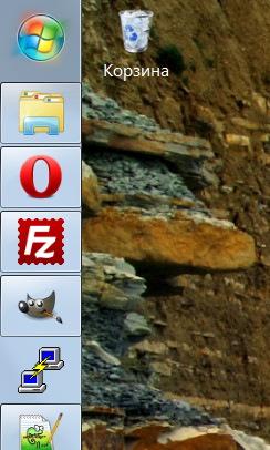 Панель задач в левой части экрана