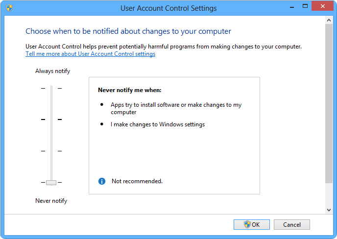 UAC's control and shutdown in Windows 7 OS